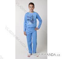 Pyžamo dlouhé dorostenecké chlapecké bavlněné (140-170) CALVI 16-443