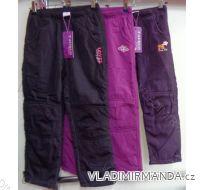Kalhoty šusťákové zateplené flaušem kojenecké dětské dívčí  92-116) GRACE M-632