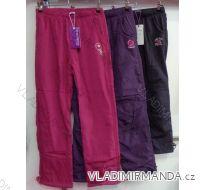 Kalhoty šusťákové zateplené flaušem kojenecké dětské dívčí  (98-158) GRACE M-475