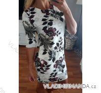 Šaty bavlněné 3/4 dlouhý rukáv  dámské květy (uni s-l)  italská moda IM719007