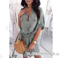 Šaty košilové krátký rukáv dámské (uni s-l) ITALSKá MóDA IM418520