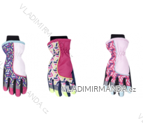 Rukavice prstové lyžařské dětské dorost dívčí (22cm) YOCLUB POLSKO RN-035