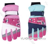 Rukavice prstové lyžařské dětské dorost dívčí (20cm) YOCLUB POLSKO RN-036