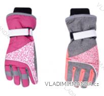Rukavice prstové lyžařské dětské dorost dívčí (24cm) YOCLUB POLSKO RN-037