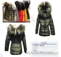 Bunda / kabát prošívaný s kapucou a kožíškem dámský (S-L) KZELL ITALSKÁ MODA 8136K