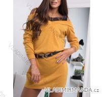 Šaty dlouhý rukáv teplé dámské s krajkou (uni s-l) ITALSKá MóDA IMC181189