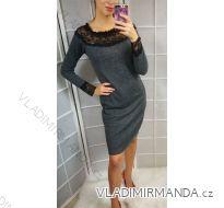 Šaty elegantní dlouhý rukáv s krajkou dámské (uni s-l) ITALSKá MóDA IMC181716