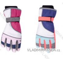 Rukavice prstové lyžařské dětské dorost dívčí (24cm) YOCLUB POLSKO RN-039