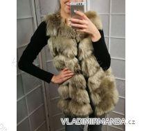 Vesta  kožíšek zimní dámský s koženkovými kapsami teplá umělá kožešina (s-4xl) AFASHION AF18048