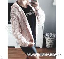 Cardigan pletený svetr  dlouhý rukáv s kapucí dámský (uni s-l) ITALSKá MODA IMC181095