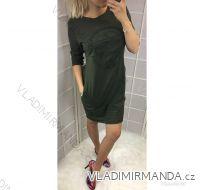 Šaty dlouhý rukáv letní dámské vyražené logo (uni s-l) ITALSKÁ MODA IMC19030