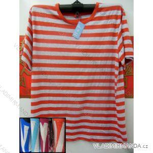 Tričko krátký rukáv dámské bavlněné nadrozměrné pruhované (m-3xl) HAF W-205
