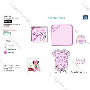 Set body krátký rukáv, čepička, botičky, přikrývka mickey mouse kojenecké dívčí (0-6 měsíců) SUN CITY EP0409