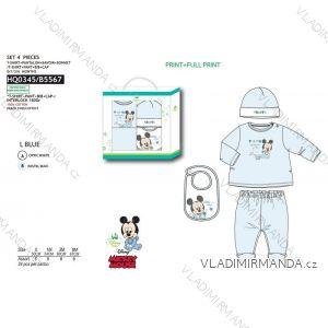 Set tričko dlouhý rukáv, tepláky, čepička, bryndák mickey mouse kojenecké chlapecké (0-6 měsíců) SUN CITY HQ0345