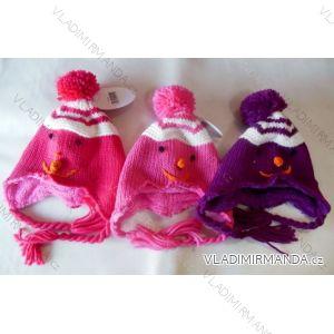 Čepice zimní pletená kojenecká a dětská dívčí flaušová podšívka (0-1, 2-3, 3-4 roky) WOLF A2401