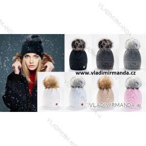 Čepice zimní zateplená flaušem dámská s kamínky (ONE SIZE) WOOLK POLSKO PV419VERONA