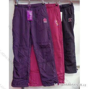 Kalhoty šusťákové zateplené flaušem kojenecké dětské dívčí  (98-158) GRACE M-634