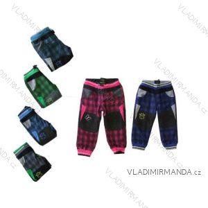Kalhoty bavlněné outdoor teplé kojenecké dívčí a chlapecké flaušová podšívka (68-92) KUGO T8019