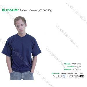 Tričko do v, krátký rukáv pánské  jednobarevné (s-xxl) BLOSSOM V-190G