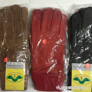 Rukavice  prstové teplé s koženkou pámské dámské  (s-xl) PV617