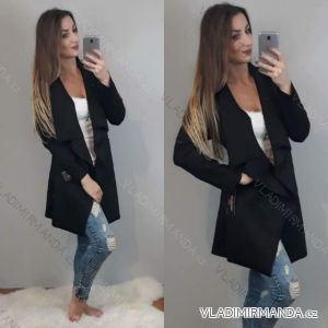 Sako kabát broušená koženka dlouhý rukáv dámský (uni s-m-l) ITALSKá MóDA IMC18218