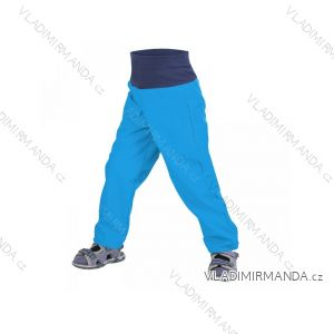 Kalhoty  softshellové bez zateplení kojenecké dětské chlapecké tyrkysové  (86-104)  UN18026-SLIM