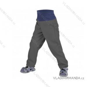 Kalhoty  softshellové bez zateplení kojenecké dětské dívčí i chlapecké antracitové  (86-104)  UN18040-SLIM