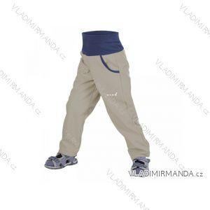 Kalhoty  softshellové bez zateplení dětské dívčí i chlapecké šedobéžové  (116-134)  UN18042