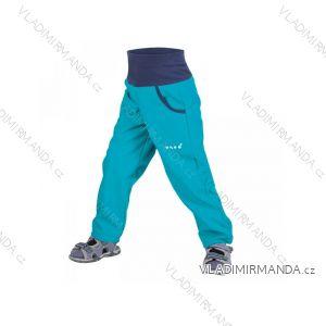 Kalhoty  softshellové bez zateplení dětské dívčí i chlapecké aqua  (116-134)  UN18046 8596227023059