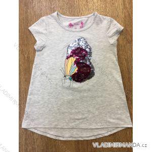 Tričko krátký rukáv s flitry dětské dívčí (98-128) WOLF S2815