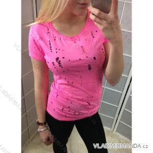 Tričko s krátkým rukávem dírkované dámské neonove (uni s-l) ITALSKá MóDA IM518026