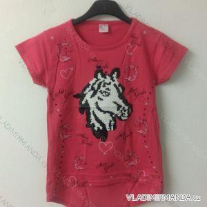 Tričko slabé krátký rukáv s flitry dětské dívčí (8-12 let)  TURECKá MODA TV4180391
