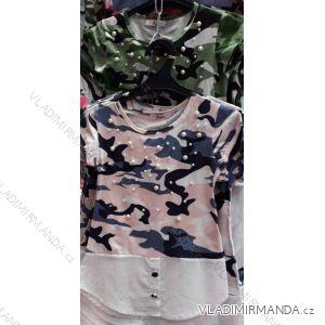 Tričko maskáč s krátkým rukávem s perličkami dívčí TUZZY turecká moda TM218055