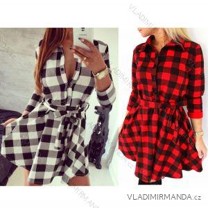 Šaty košilové dlouhý rukáv dámské kostkované (uni s-l) ITALSKá MóDA IMT179258