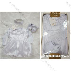 Šaty křtinový komplet (4 ks) kojenecký dívčí (0-6 měsíců) TURECKá VýROBA TUR418901