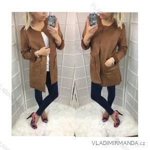 Kabát imitace broušené kůže dlouhý rukáv dámský   (uni s-m) ITALSKá MóDA IM418669