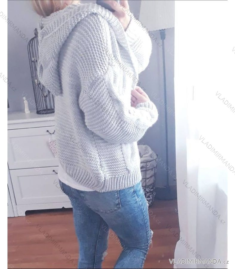 Cardigan pletený svetr dlouhý rukáv s kapucí dámský (uni s-l) ITALSKá MODA  IMC181074 76e17cc061