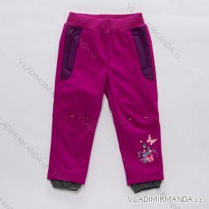 Kalhoty softshellové zateplené  flaušem fleece kojenecké dětské dívčí  (86-110) WOLF B2891