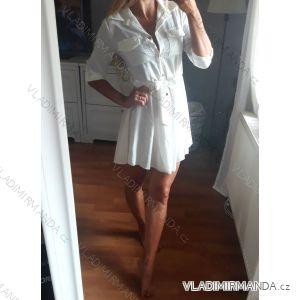 Šaty košilové dlouhý 3/4 rukávem dámské s kapsou tenké (uni s-l) ITALSKá MóDA IM318335