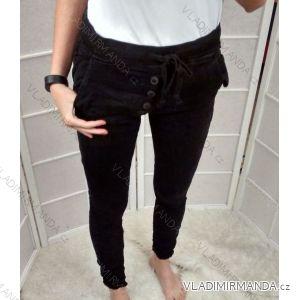 Kalhoty plátěné v pase na gumu s knoflíky dámské (xs-xl) P.O.P. SEVEN/GOURD T701-1