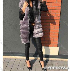 Vesta kožíšek dámská s kapucí (uni s-m) ITALSKá MODA LEU180110H735
