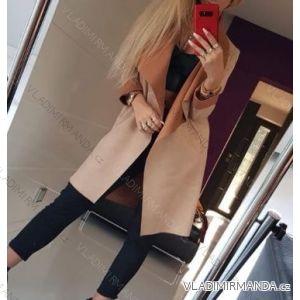 kabát broušená koženka dlouhý rukáv dámský  (uni s-m) ITALSKá MóDA IM418670