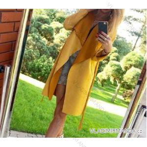 Cardigan / kabát dlouhý rukáv dámský broušená koženka (uni s-m) ITALSKá MóDA IM4189231