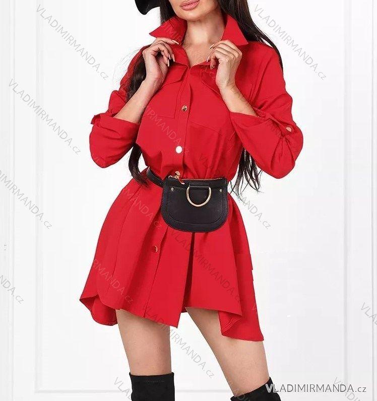 9fd7d74c69a6 Šaty košeľové 3 4 dlhý rukáv dámske saténové (uni sl) TALIANSKÁ MÓDA  IM21887285