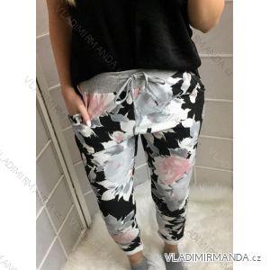 Tepláky kalhoty dlouhé květované dámské (uni s-l) ITALSKá MóDA IMC181375 405b552560