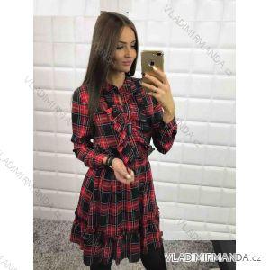 Šaty košilové dlouhý rukáv kostka dámské (s-m-l) MFASHION MF18S70