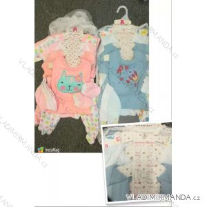 Souprava body, čepice, tepláky, bryndák, overal, tričko kojenecká dívčí a chlapecké (3-9 měs) AODA AOD18004