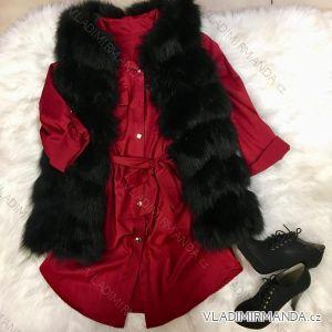 Šaty košilové 3/4 dlouhý rukáv dámské saténové (uni s-l) ITALSKá MóDA IM21887285