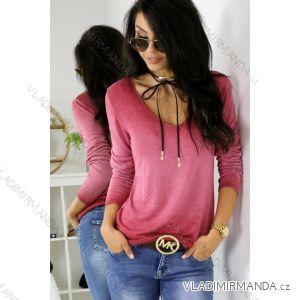 Tričko upletové tenké dlouhý rukáv dámská (uni s-l) ITALSKá MóDA IM518001