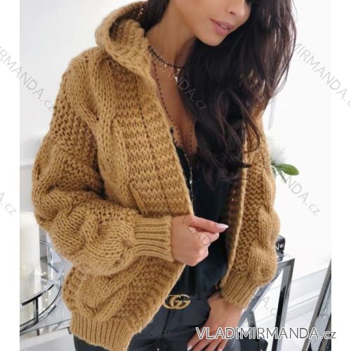 Cardigan pletený svetr dlouhý rukáv s kapucí dámský (uni s-l) ITALSKá MODA  IMC181095 5c364f679a